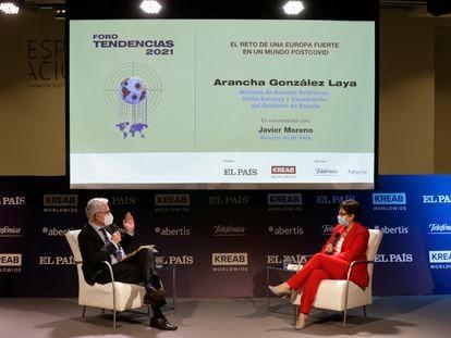 Javier Moreno pregunta a Arancha González Laya, este jueves durante el Foro Tendencias 2021.