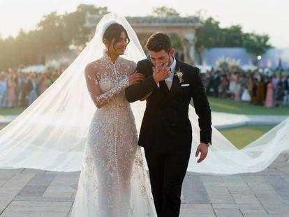 Priyanka Chopra y Nick Jonas, durante su boda el pasado sábado.