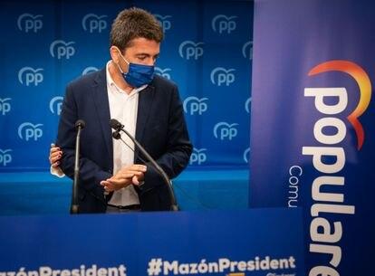 El presidente provincial del PP, Carlos Mazón, en su presentación como candidato para liderar el partido en la Comunidad Valenciana.