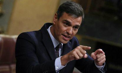 Pedro Sánchez, durante su comparecencia en el Congreso.
