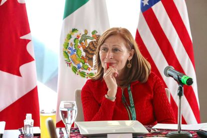 The Secretary of Economy, Tatiana Clouthier, at a meeting in the framework of the first anniversary of the T-MEC, on July 7, in Mexico City.
