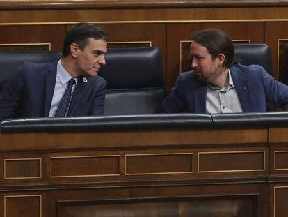 Pedro Sánchez y Pablo Iglesias, la semana pasada en el Congreso.