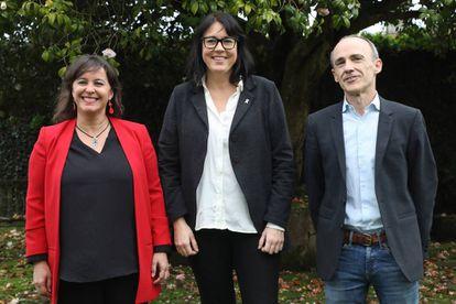 Los candidatos Ana Miranda (BNG), Josu Juaristi (EH Bildu) y Diana Riba (ERC), este viernes.