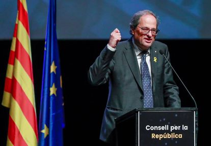Quim Torra en la presentación del Consejo de la República en Bruselas.