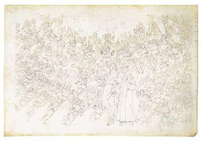 'Paraíso', canto XXVIII. Beatriz enumera la jerarquía angélica de los nueve cielos. 'Divina comedia' de Dante Alighieri, con ilustraciones de Sandro Botticelli.