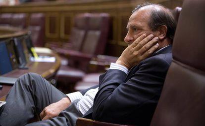 Vicente Martínez-Pujalte, en su escaño del Congreso.