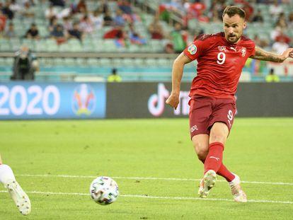 Seferovic con la selección suiza durante esta Eurocopa.