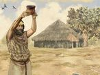 Representación de ofrenda a los dioses con vaso campaniforme.