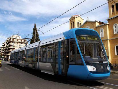 Un tranvía circulando por Atenas.