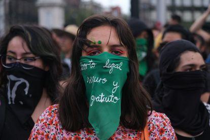 Una marcha feminista en favor del aborto, en Ciudad de México en septiembre de 2019.