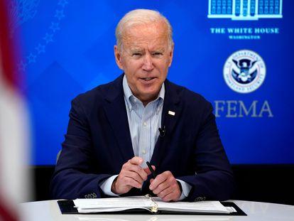 El presidente Joe Biden, este sábado, en una reunión informativa sobre el huracán Ida, que se acerca a Estados Unidos.