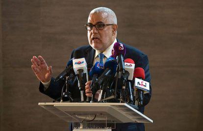 El presidente de Marruecos y secretario general del Partido Justicia y Desarrollo (PJD), durante una conferencia de prensa celebrada el 22 de octubre en Salé.