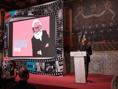 El presidente de la Academia de Cine, Mariano Barroso, durante el homenaje al nacimiento de Berlanga, este sábado en Valencia.