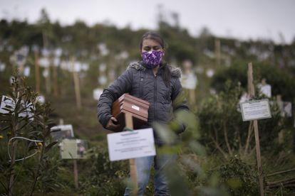 Una mujer porta una urna con cenizas de un familiar, muerto por complicaciones relacionadas con la covid-19 en la Reserva Natural El Pajonal de Cogua, al norte de Bogotá, Colombia.