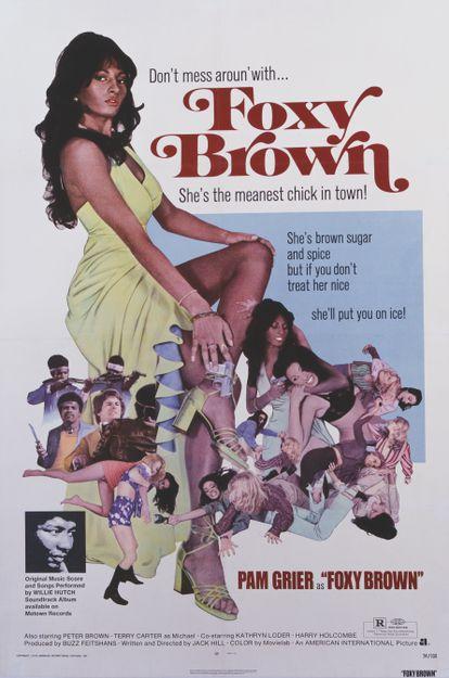 Un póster de la película de acción de 1974 de Jack Hill, 'Foxy Brown' protagonizada por Pam Grier.