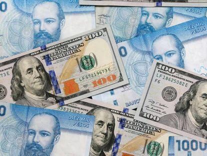 Billetes de 10.000 pesos y de 100 dólares.