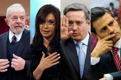 De izquierda a derecha, los expresidentes latinoamericanos Lula Da Silva, Cristina Fernández, Álvaro Uribe y Enrique Peña Nieto.