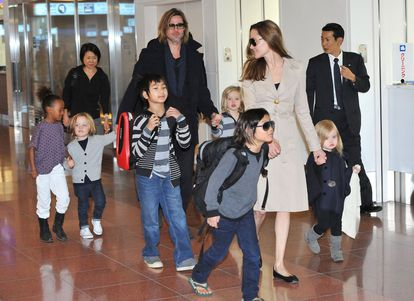 Angelina Jolie and Brad Pitt with their children, before their separation.