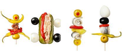 Gilda con tomate, lagarto de bonito, cohete de boquerón y cohete Dalí.