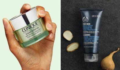 A la izquierda, la crema hidratante para mujer Clinique superdefence y, a la derecha, una crema de maca para hombre, de The Body Shop.