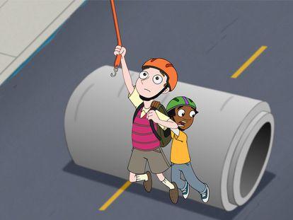 Milo y Zack escapan de una tubería de hormigón en el primer capítulo de la serie.
