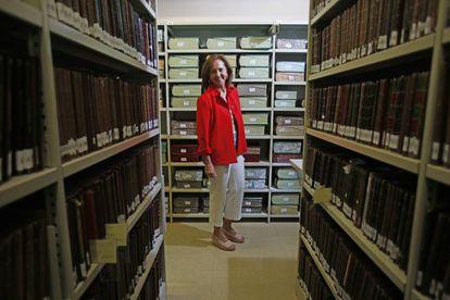 La directora de la Biblioteca Nacional, Ana Santos, en la sede de la institución en Madrid de 2019.