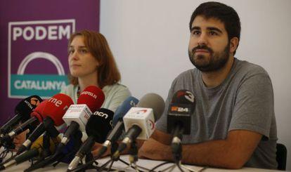 Marc Bertomeu y Jéssica Albiach, en una comparecencia en Barcelona.