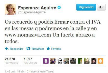 Mensaje de Esperanza Aguirre en Twitter