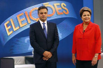 Neves y Rousseff, antes de su último debate.