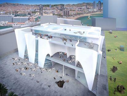 Imagen del edificio proyectado por el arquitecto Toyo Ito donde se ubicará el centro cultural del Hermitage en el Puerto de Barcelona.