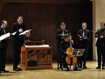 Vox Luminis durante la actuación en el Auditorio Nacional de Madrid.