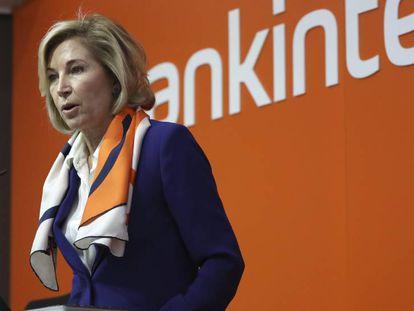 La consejera delegada de Bankinter, María Dolores Dancausa, durante la rueda de prensa de resultados de 2017.