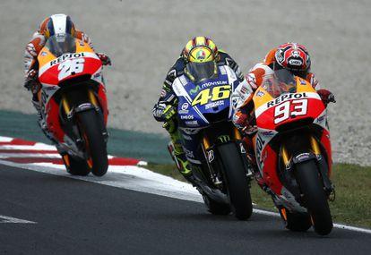 Márquez vence por delante de Rossi y Pedrosa.