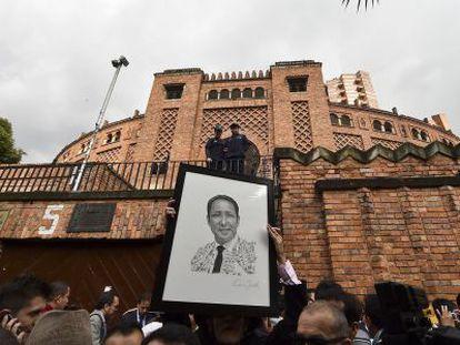 Imagen de archivo de una protesta en la plaza de toros La Santamaría en Bogotá.