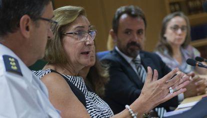 La fiscal jefe de Valencia, Teresa Gisbert, y a su derecha Enrique Vila, representante de una de las asociaciones.