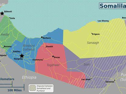 Mapa de Somaliland.