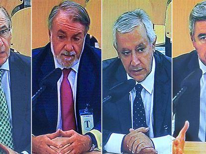 Rato, Mayor Oreja, Arenas y Acebes, en el juicio.