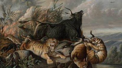 Fragmento de 'Incendio en el bosque' (1849), del indonesio Raden Saleh.