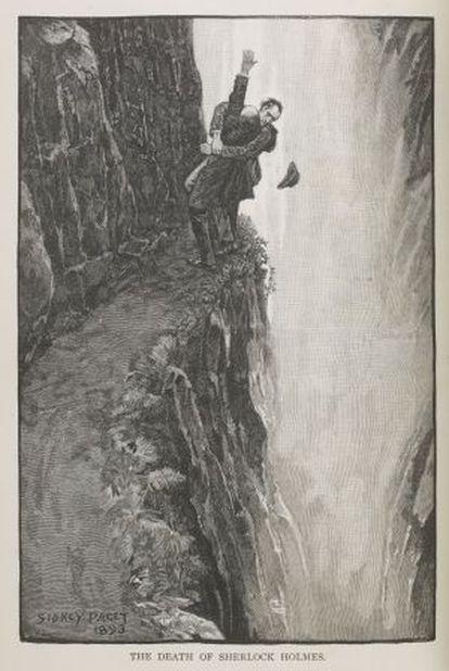Ilustración de Paget con la muerte de Sherlock Holmes.