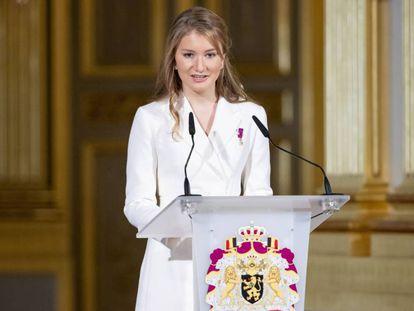 La princesa Isabel de Bélgica, en el acto de honor por su 18 cumpleaños, este viernes.