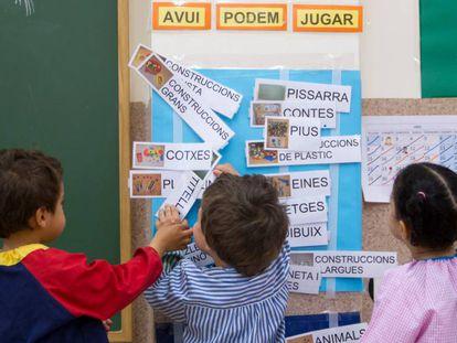 Niños en la escuela Reina Violant, de Barcelona.