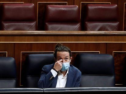 El vicepresidente Pablo Iglesias, líder de Podemos, este miércoles en el Congreso.