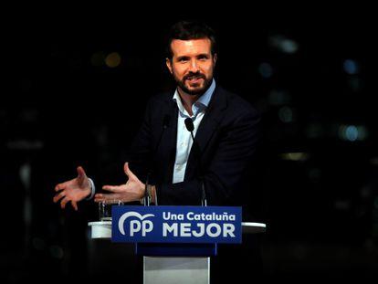 El presidente del Partido Popular, Pablo Casado, durante el acto final de campaña de las elecciones catalanas del 14F.