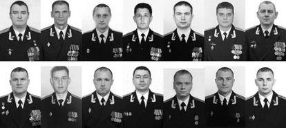 Los 14 militares fallecidos.