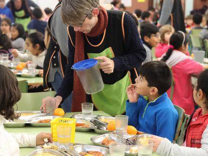 Un comedor escolar de un colegio de Barcelona.