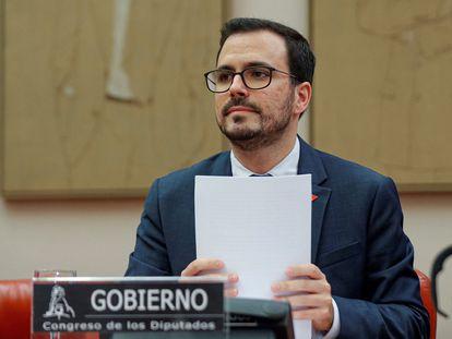 El ministro de Consumo, Alberto Garzón, durante su comparecencia este viernes ante la Comisión de Sanidad y Consumo del Congreso.