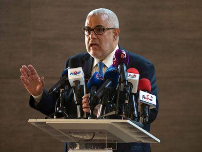 El presidente de Marruecos y secretario general del Partido Justicia y Desarrollo (PJD), durante una conferencia de prensa celebra el 22 de octubre en Salé.