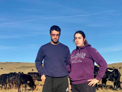 El ganadero Alejandro García y la ingeniera Silvia Casado, junto a las vacas.