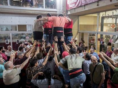 Ensayo de los Castellers de Barcelona antes de la Mercè de 2019, días después de la expulsión.