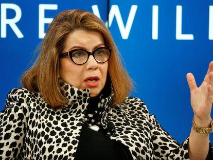 Carmen Reinhart, en una foto de archivo durante su participación en el Foro de Davos de 2017.
